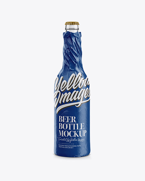 Clear Beer Bottle Wrapped in Glossy Paper Mockup