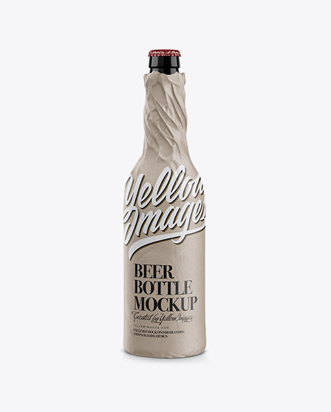 Glossy Beer Bottle Wrapped in Matte Paper Mockup
