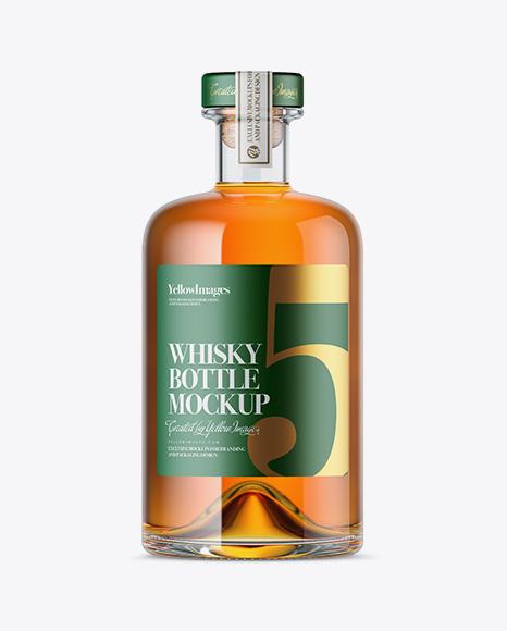 Download Glass Bottle W/ Whisky Mockup Object Mockups