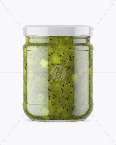 Clear Glass Jar With Kiwi Jam Mockup In Jar Mockups On Yellow Images Object Mockups