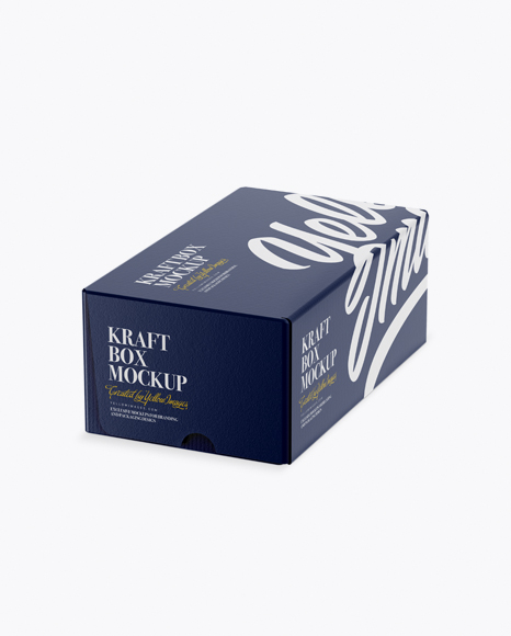 Download Glossy Kraft Paper Box Mockup - Half Side View (High-Angle Shot) Object Mockups