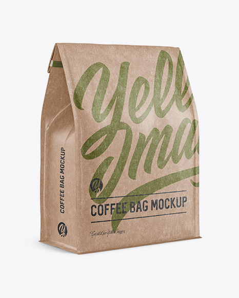 Download Kraft Paper Coffee Bag W A Tin Tie Mockup Halfside View In Pouch Mockups On Yellow Images Object Mockups PSD Mockup Templates
