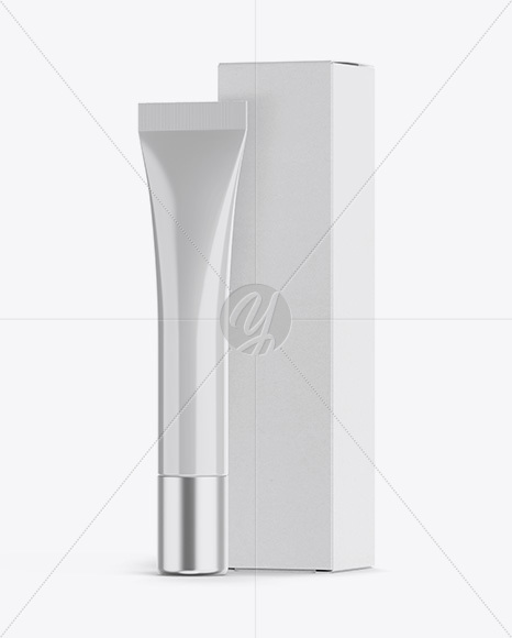 Glossy Plastic Cosmetic Tube With Metallic Cap And Box Mockup - Halfside View