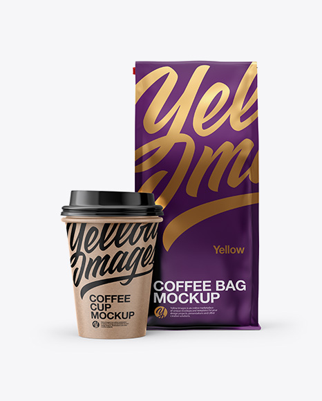 Download Matte Bag with Kraft Coffee Cup Mockup - Front View Object Mockups