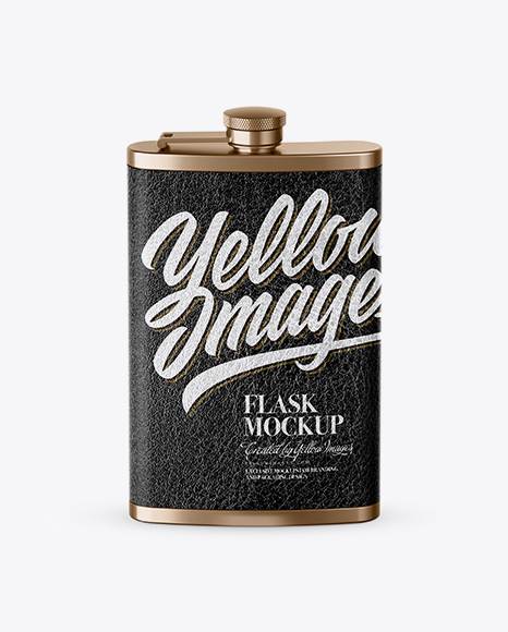 Download Steel Flask With Leather Wrap Mockup (High-Angle Shot) Object Mockups