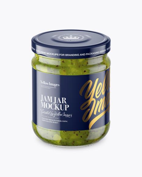 Download Clear Glass Jar with Kiwi Jam Mockup (High-Angle Shot) Object Mockups