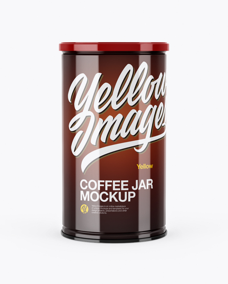 Download Free Glossy Coffee Tin Can Mockup - Front View PSD Template