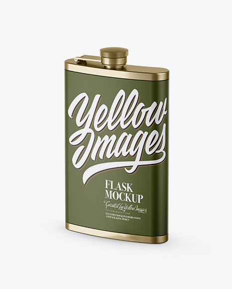 Download Free Steel Flask With Matte Wrap Mockup - Half Side View PSD Template