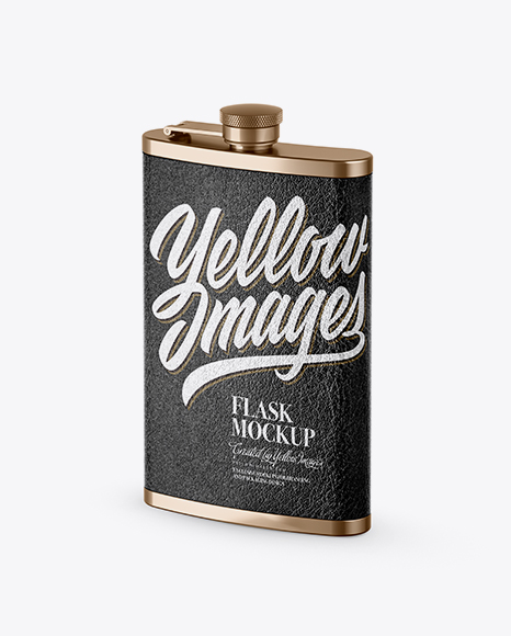 Download Steel Flask With Leather Wrap Mockup - Half Side View Object Mockups