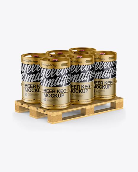 Download Free Wooden Pallet With 6 Metallic Beer Kegs Mockup - Half Side View PSD Template