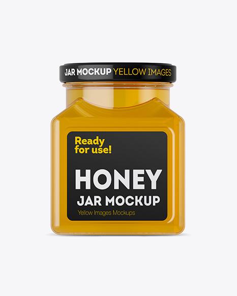 Download Glass Pure Honey Jar Mockup Object Mockups