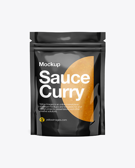Download Free Glossy Transparent Stand-Up Pouch W/ Curry Sauce Mockup - Front View PSD Template