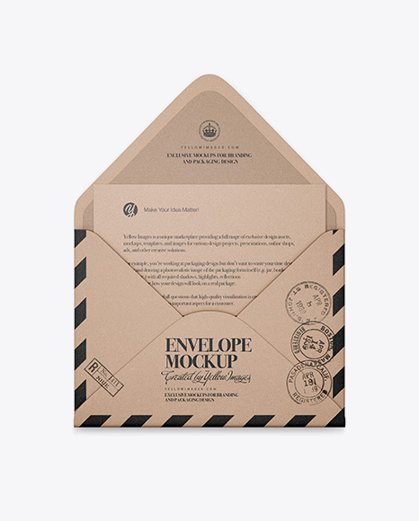 Opened Kraft Envelope With List Mockup