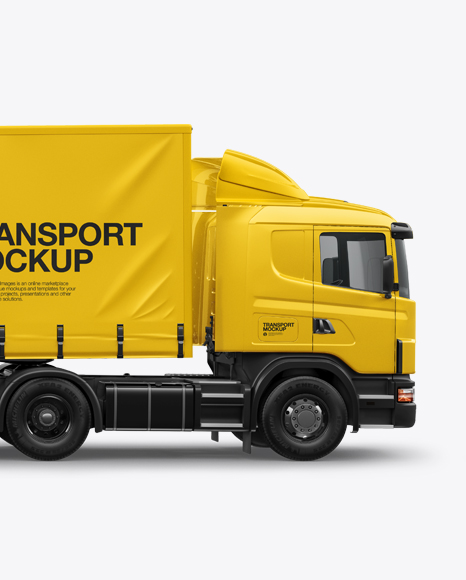Download Free Scania Truck Mockup - Side View PSD Template