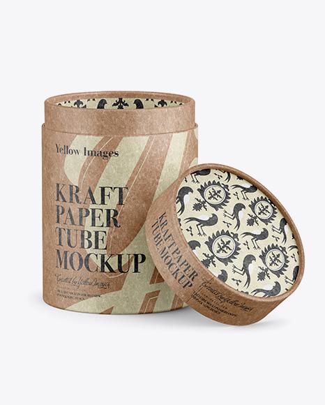 Download Opened Kraft Paper Tube Mockup Object Mockups