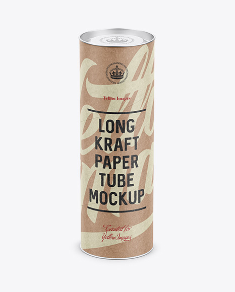 Long Kraft Paper Tube w/ a Convex Lid and a Paper Label - High-Angle View