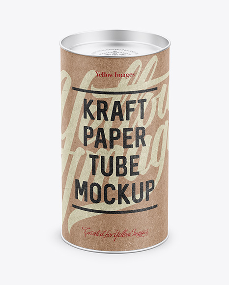Medium Kraft Paper Tube w/ a Flat Lid and a Paper Label - High-Angle View