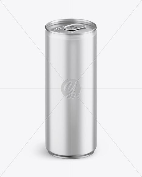 Download Aluminium Can With Metallic Finish Mockup - Front View (High-Angle Shot) PSD