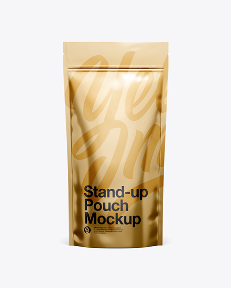 Download Metallic Stand Up Pouch W/ Zipper Mockup - Front View Object Mockups