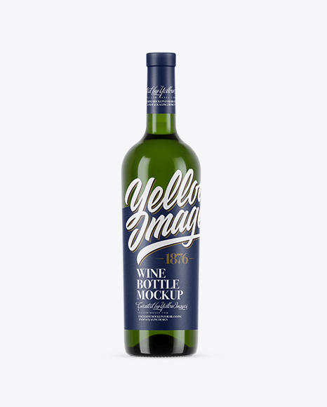 Download Free 750ml Green Glass White Wine Bottle Mockup PSD Template