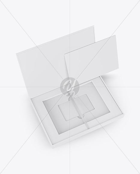 Gift Card in a Box Mockup - Halfside View (High-Angle Shot)