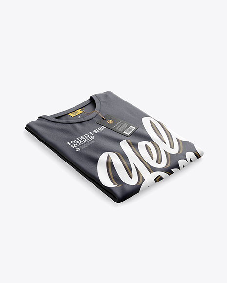 Folded T-Shirt Mockup - Half SIde View