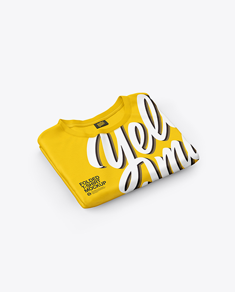 Download Folded Black T Shirt Mockup Yellowimages