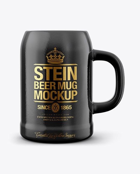 Glossy Stein Beer Mug Mockup
