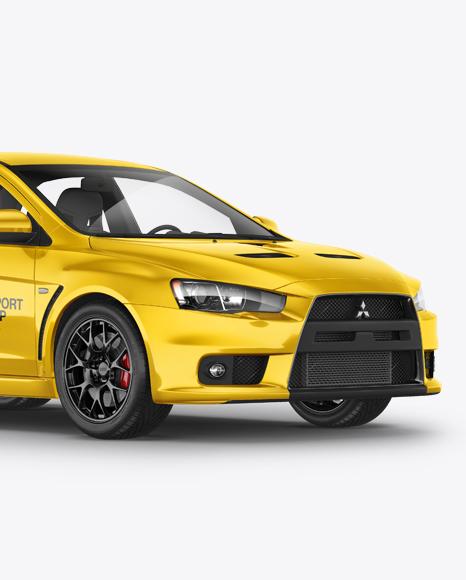 Mitsubishi Lancer Evolution X Mockup - Half Side View