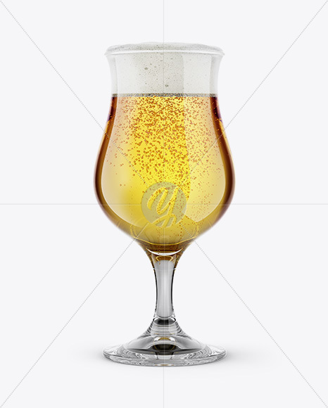 Tulip Glass With Pilsner Beer Mockup