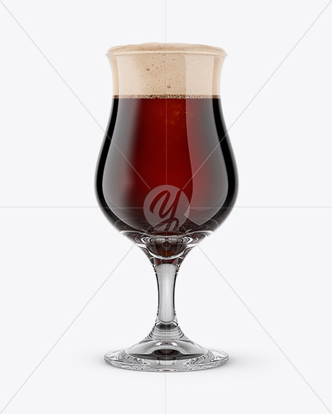 Tulip Glass With Stout Beer Mockup