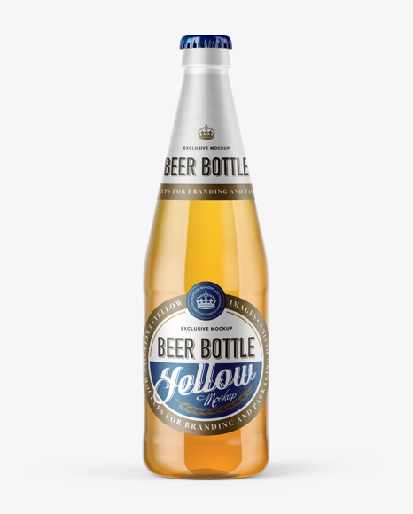 Download 568ml Clear Glass Bottle with Lager Beer Mockup Object Mockups