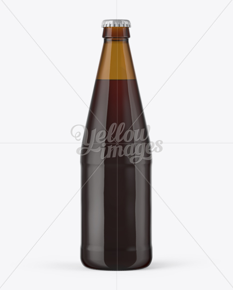 568ml Amber Glass Bottle with Red Ale Mockup