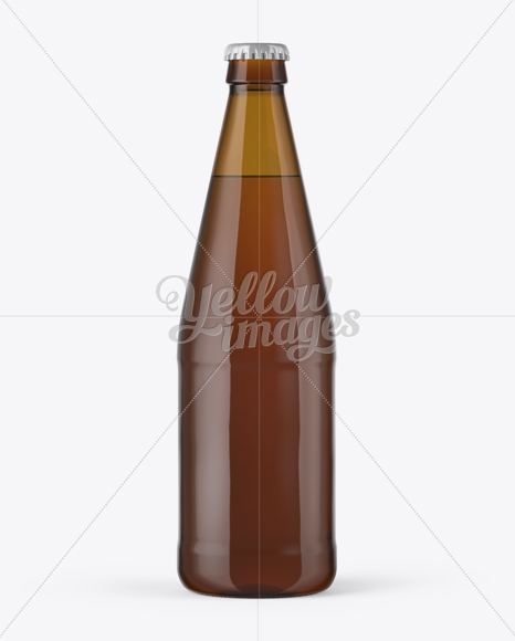 568ml Amber Glass Bottle with Light Beer Mockup