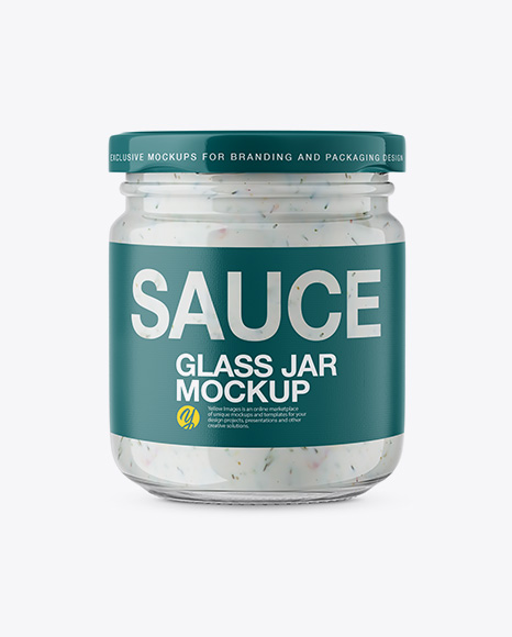 Download Glass Jar with Tartar Sauce Mockup - Front View Object Mockups