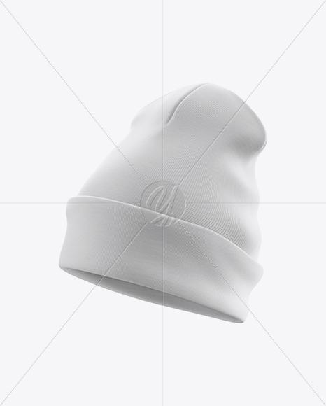 Turn Up Beanie Hat Mockup - Half-Side View
