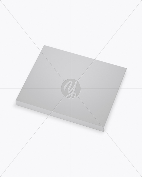 Glossy Chocolate Box Mockup - Half Side View (High-Angle Shot)