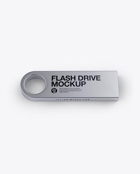 Download Aluminium Flash Drive Mockup - Side View (High-Angle Shot) Object Mockups