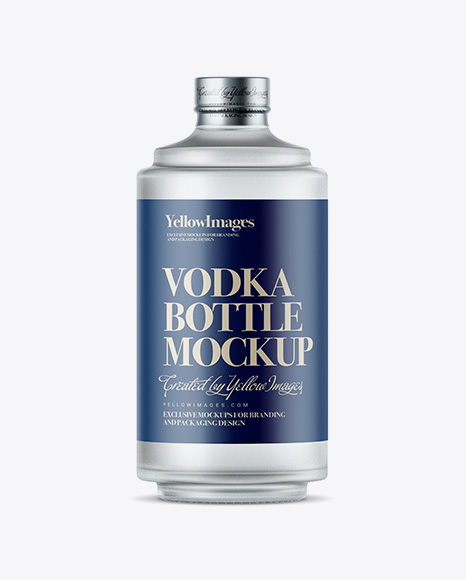 Download Free Frosted Glass Bottle W/ Vodka Mockup PSD Template