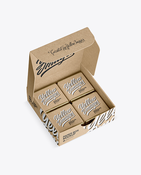 Download Opened Kraft Paper Box With Chocolates Mockup - Half Side View (High-Angle Shot) Object Mockups