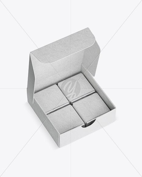Opened Kraft Paper Box With Chocolates Mockup - Half Side View (High-Angle Shot)