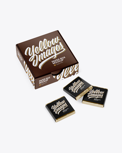 Download Free Glossy Paper Box With Chocolates Mockup - Half Side View (High-Angle Shot) PSD Template