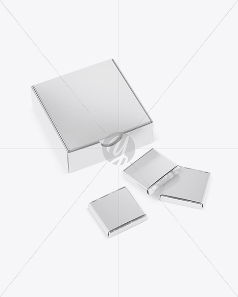 Glossy Paper Box With Chocolates Mockup - Half Side View (High-Angle Shot)