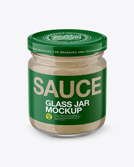 Download Free Glass Jar with Mushroom Sauce Mockup - Front View (High Angle Shot) PSD Template
