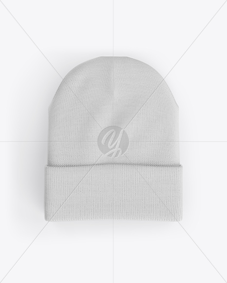 Turn Up Beanie Hat Mockup - Top View