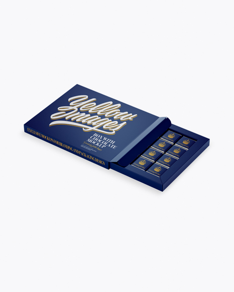 Download Opened Matte Chocolate Box - Half Side View Object Mockups