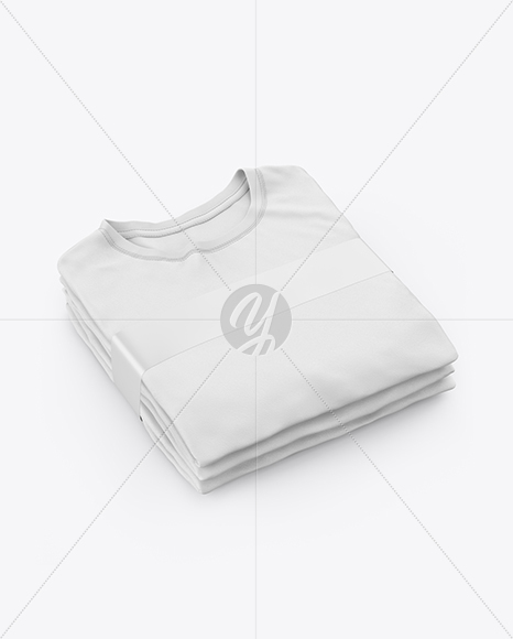 Stack of Folded T-Shirts Mockup - Half Side View (High-Angle Shot)