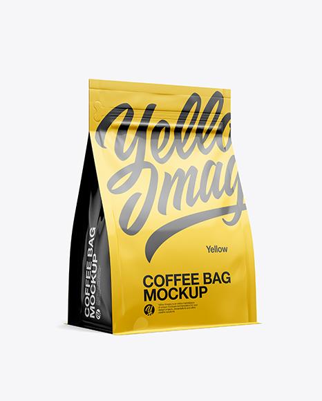 Glossy Coffee Bag Mockup - Half Side View