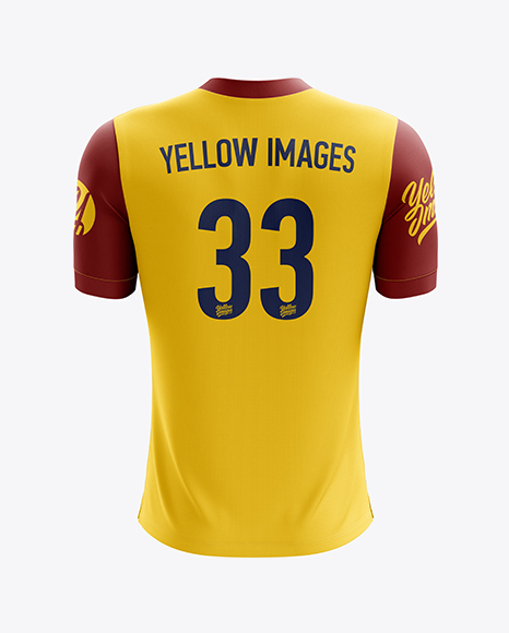 Men's Soccer V-Neck Jersey mockup (Back View)