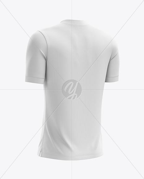 Men's Soccer V-Neck Jersey mockup (Back Half Side View)